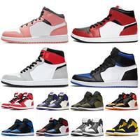Nike Air Jordan 1 1s off white Jordan Retro 1 travis scott Basketball Venda quente Jumpman Mens formadores Rosa de Chicago Black Light Cinzento fumo OG reais sneakers Toe