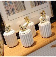Alta calidad 4style palilleros de cerámica hisopo de algodón caja de almacenaje de la cocina Creative Box Animales decoración de la tabla del regalo de boda # nZEA