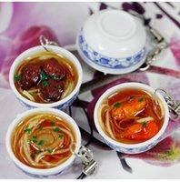 1pcs Simulation Lebensmittel-Handy-Kette Keychain Chinesische blaue und weiße Porzellan-Schüssel Speisen Mini-Handy-Bügel-Anhänger