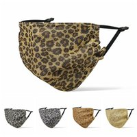 Sequined leopard mask print ear-hanging mouth cover for adult fashion soft dustproof outdoor protctive adjustable masks CYF4273