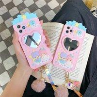 tüy yumağı Telefon CaseFor iPhone 7 8 Plus X XR XS 11pro MAX Yumuşak silikon kapak Coque ile Sevimli Karikatür İkizler Prenses ayna
