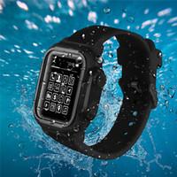 La pleine protection IP68 Boîtier étanche pour la série d'Apple montre 5 4 3 2 1 pour iWatch 42mm 44mm 38mm 40mm Couverture Bracelet en silicone Sport Band Cover