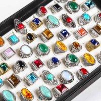 50pcs/lot nature stone Tibetan Silver Golden rings men vintage alloy couple turquoise hombre jewelry rings women wholesale lots