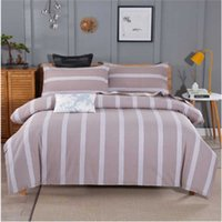 4pcs / lot Algodão Duvet Cover Define estilo simples Pillowcase Folha de cama Muti-tipos Household Moda Striped Set cama