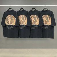 イエスは王ティー3神々の宗教油絵Tシャツヴィンテージ半袖夏の通り男性女性Tシャツ