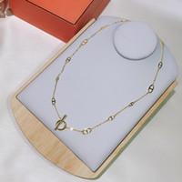 حار العلامة التجارية للمرأة رسالة جولة H قفل مجوهرات S925 الفضة قلادة مجموعة فرنسا الجودة الذهبي الذهب العليا قلادة الجودة