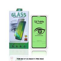 Protecteur d'écran en verre trempé pour iPhone XR XS Max Protective Film Anti Green Light Pellical Phone Pellical Screen Protecteurs avec emballage au détail