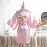 Свадьба Купайтесь Robe невеста невеста Мать халат женщины равнина Шелкового сатин Одеяние Люкс Свадебных невесты платье невесты банного халата