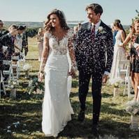 Плюс размер свадебные платья элегантные прозрачные длинные рукава тонкие пляжные кружевные аппликации сад свадебные платья