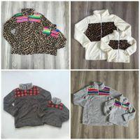 Conjuntos de ropa Girlymax Otoño / Otoño para niños Baby Girls Abrigo cálido Serape Leopardo Plaid Fleece Mamá Adulto Cotton Ropa Niños Boutique Top