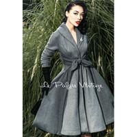 2020 Le Palais Vintage rétro élégant gris taille Stitching Big Pendulum All-Match Manteau Vêtements pour femmes de haute qualité