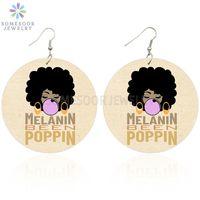 Afrikanische Frauen Ohrringe Melanin waren bereits Poppin Holz-Tropfen-Ohrringe Kaugummi-Mädchen Afro Natürliche Hair Design baumeln Schmucksachen für Frauen Geschenke
