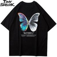 Hop comode shirt Hip Uomini 2020 Streetwear Harajuku della farfalla di colore della maglietta di cotone manica corta sciolto HipHop T-Shirt Plus Size