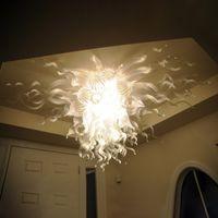 Современный белый потолочный светильник светодиодный взорванный стеклянные люстры потолочные светильники 36 дюймов широкий хрустальный люстр освещение для украшения дома живущая комната-л