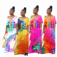Kadınlar Siyah Hayatlar Madde Gevşek Uzun Elbise Kravat Boya Degrade Renk Boy Maxi Elbiseler Kısa Kollu Genel Beachwear Bikini Kapak D71404
