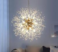 Dandelion moderno levou luzes de cristal lustres de cristal iluminação lâmpada de pingente de bola para sala de jantar quarto sala de estar luminária