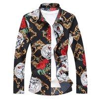 패션 남성의 가을 긴 소매 옷 깃 셔츠 청소년 플러스 sizeM - 7XL 꽃 셔츠 코튼 하와이 꽃 탑