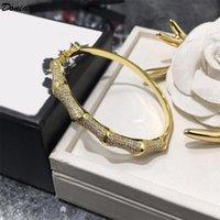 Donia gioielli partito europeo e moda americana classica micro bambù semicerchio intarsiati Zirconia braccialetto di rame BRACCIALETTO compleanno Christm