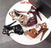 Новый дизайнер Tribute Патентный из мягкой кожи платформы сандалии высокой пятки шпильках сандалии T-ремешок Леди обувь Насосы 10см и 14см с коробкой