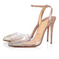 Nueva inferiores rojos bomba de zapatos de la novia rojo soles Spikaqueen zapatos de mujer, PVC Con Strass en punta del dedo del pie cerrado talones del partido de la boda de la elegancia de la mujer