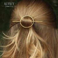 Alyxuy Новая мода Простые Круглые Худовиты Ювелирные Изделия Женщины Девушки Металлические Клярные Зажимы для волос Свадьба Аксессуары для волос H408