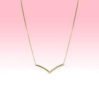 Collar de wishbone pulido de oro amarillo pulido regalo de la boda de las mujeres para los collares de la cadena de plata esterlina de Pandora con la caja original