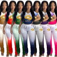 Kadınlar Dudaklar Eşofman Tasarımcı Mektupları T Gömlek Mahsul Tops ve Ruffled Pantolon Kıyafet İki Adet Pantolon Suit Renk Gradyan Eşleştirme Suit D71610