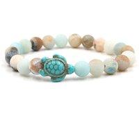 Tortue naturelle tortue de pierre perlée briettes bracelet tortue de mer charme agate tigre oeil turquoise femmes femmes bracelets pour hommes et bijoux de mode sablonneux