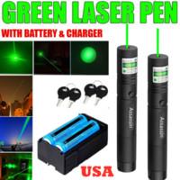 2pack 100miles militare 532nm verde Penna puntatore laser astronomia 1mw potente giocattolo del gatto del fuoco registrabile Lazer + 2 x 18650 Battery + Dual Charger