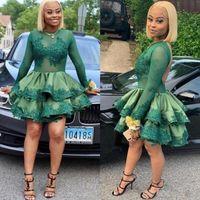 Koyu Yeşil Jewel Yaka Uzun Kollu Backless Mezuniyet Elbiseleri Illusion AYDINLATMA Dantel Dantelli Katmanlı Saten A Hattı Kokteyl Parti Elbise