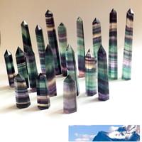 Doğal Renkli Florit Kristal Kuvars Kule Kuvars Noktası Florit Kristal Dikilitaş Wand Şifa Kristal 15 boyutları