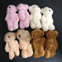 hxltoystore 6cm Plüsch Mini Teddybär Lange Wolle Kleine Bär Plüschtiere Spielzeug Plüsch-Anhänger für Schlüsselkette Bouquet 4color