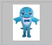 2020 Factory Discount chaud un beau costume de mascotte de dauphin avec un bowknot pour adulte à l'usure