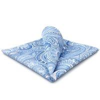 YH12 Paisley Azure Silver Mens Hankies 100% Silk Jacquard Woven Fashion Brand New Hanky