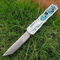 Abalone Damasco tanto lâmina de dupla acção táctica de campismo faca de caça fodling canivetes TOOL xmas faca dom 18336