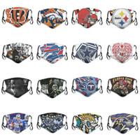 2020 Yeni Moda Lüks Tasarımcı 5 katmanlı Toz Maskeleri Rugby Takımı Bengals Ravens Jaguarlar Titans Şefleri Steelers Broncos Repeatable Yüz Maskesi