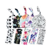 INS Yenidoğan Uyku Tulumu Baskılı Battaniye Bow Baş Bandı Şapka Üç Adet Set Bebek Çiçek Suit Çiçek Desen Kaşmir Kumaş 15xd B2