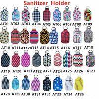 35 Styles Neoprene Hand Sanitizer Bottle Holder 30ml Lipstick Holders Lip Cover Handbag Keychain Pouch Chapstick Holder Party Favor CYZ2596