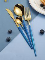 4pcs / set de aço inoxidável Faqueiro Louça Talheres Set Faca Jantar Fork Colher para Home Restaurant JK2005KD