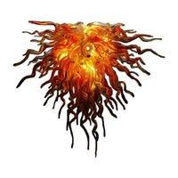 Wysokiej Jakości Ręcznie Rozwiadł Art Lampa Żyrandol Sypialnia Salon Dekoracja domowa Dekoracja Pomarańczowa Murano Szklana Żyrandole