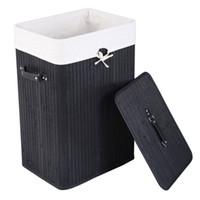 تنظيم سلة الغسيل واحدة شعرية الخيزران سلال قابلة للطي الجسم مع غطاء تخزين المنزل الأسود تخزين المخازن