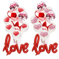 10pcs / set romantique d'anniversaire de mariage Je t'aime Balloons Set Coeur Saint-Valentin Décorations Ballons cadeaux pour Love Party Ballon rouge Ballon
