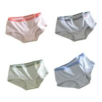 Sport Style Women Girls Mid Rise Underwear Solid Color Ribbed Stripes Panties 83XF