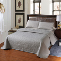Kostenloser Versand Quilting Quilts Baumwolle Polyster Stickerei Beige Grau Bettdecke Set Bed Spread-Queen-Size-Coverlet Bettlaken Bettbezug