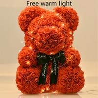 40см медведя роз со светодиодной подарочной коробкой Тедди Роза мыла пены цветка искусственные подарки для женщин валентинок