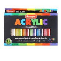 15 ألوان الاكريليك الطلاء ماركر أقلام الطلاء القلم الفن علامات مجموعة للورق الزجاج المعادن قماش الخشب السيراميك النسيج اللوحة diy الحرف