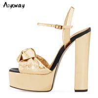 Aiyoway الذهب بو الجلود منصة مكتنزة عالية الكعب الصنادل المرأة فضي مثير اللمحة تو سوبر عالية الكعب اللباس أحذية السيدات الصيف