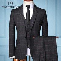 2020 из трех частей Мужской Формальное бизнеса Пледы Костюм мужской моды бутик плед свадебное платье Костюм (куртка + жилет + брюки)