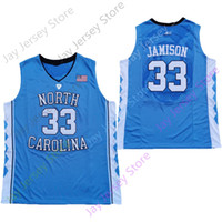 2020 Yeni NCAA North Carolina Tar Heels Formalar 33 Jamison Koleji Basketbol Jersey Mavi Boyut Gençlik Yetişkin
