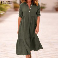 Günlük Elbiseler ZANZEA Kadın Yaka Boyun Pamuk Keten Elbise Sonbahar Katı İş Sundress Robe Femme Uzun Kollu Gömlek Vestido Bayanlar 5XL